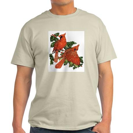 Christmas Cardinals Ash Grey T-Shirt