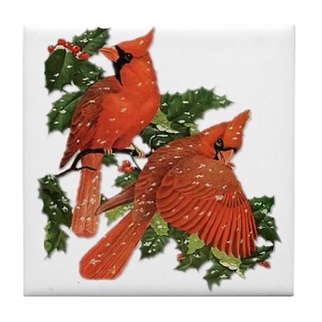 Christmas Cardinals Tile Coaster