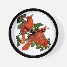 Christmas Cardinals Wall Clock