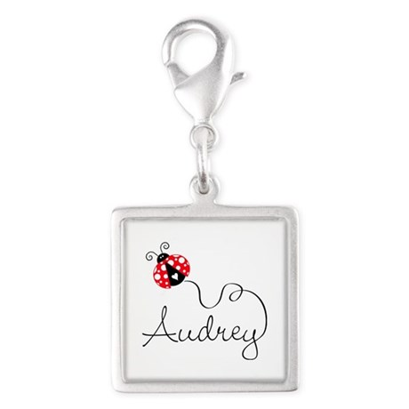 Ladybug Audrey Silver Square Charm