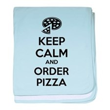 Keep calm and order pizza baby blanket