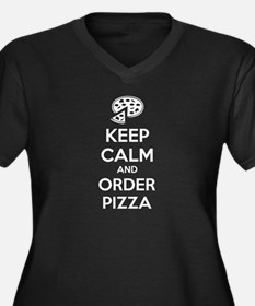 Keep calm and order pizza Women's Plus Size V-Neck