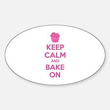 Keep calm and bake on Sticker (Oval)