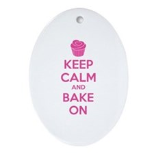 Keep calm and bake on Ornament (Oval)