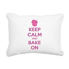 Keep calm and bake on Rectangular Canvas Pillow