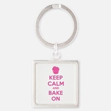 Keep calm and bake on Square Keychain
