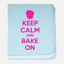 Keep calm and bake on baby blanket