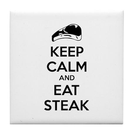 Keep calm and eat steak Tile Coaster