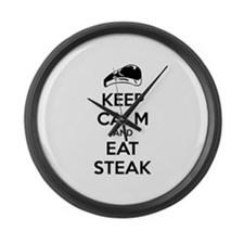 Keep calm and eat steak Large Wall Clock