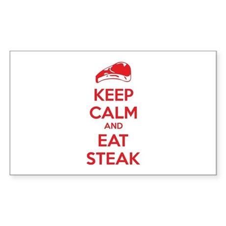 Keep calm and eat steak Sticker (Rectangle)