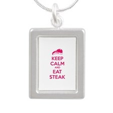 Keep calm and eat steak Silver Portrait Necklace