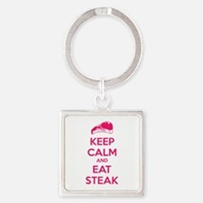 Keep calm and eat steak Square Keychain