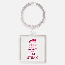 Keep calm and eat steak Square Keychain