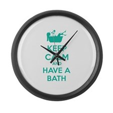 Keep calm and have a bath Large Wall Clock