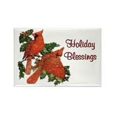 Christmas Cardinals Rectangle Magnet