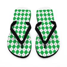 Green White Argyle Flip Flops