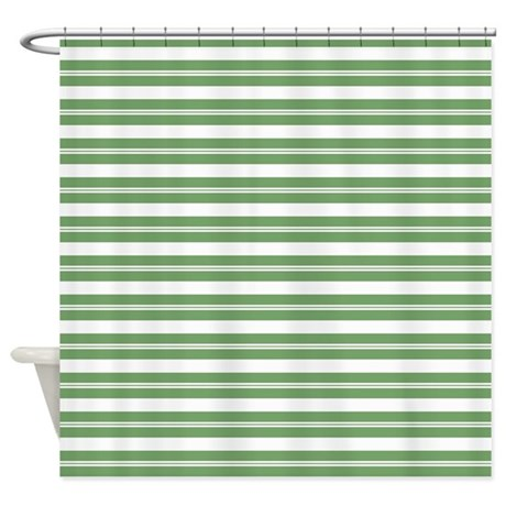 Green White Horizontal Stripes Shower Curtain by ...
