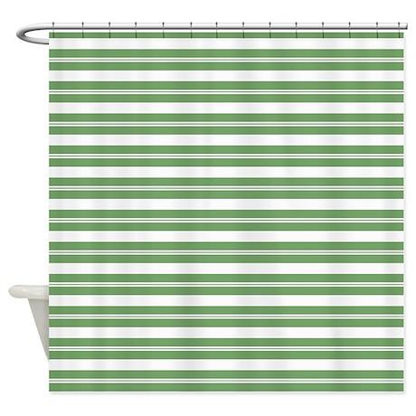 Green White Horizontal Stripes Shower Curtain By PrintedLittleTreasures