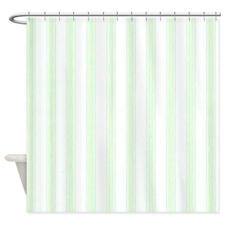 Green White Stripes Shower Curtain By Holidaylittletreasures