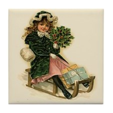 Sleigh Girl Tile Coaster