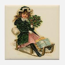 Sleigh Girl Tile Coaster