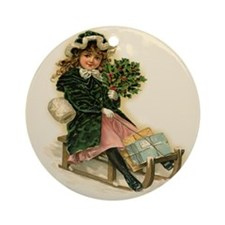Sleigh Girl Ornament (Round)