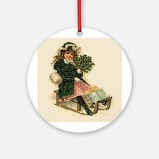 Sleigh Girl Ornament (Round)