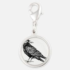 Raven Silver Round Charm
