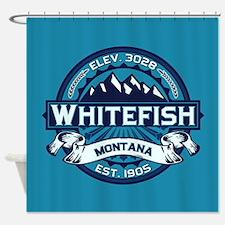 Whitefish Logo Ice Shower Curtain