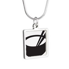 Rice Bowl Silver Square Necklace