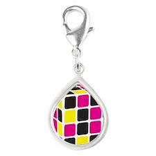 Cube Silver Teardrop Charm
