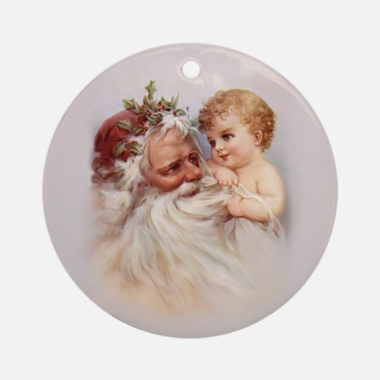 Santa and Cherub Ornament (Round)