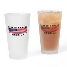 Born In Kansas Drinking Glass