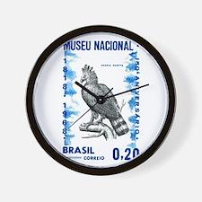 Vintage 1968 Brazil Eagle Postage Stamp Wall Clock