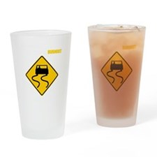 Burnout Traffic Sign 2 Drinking Glass