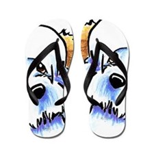 White Piebald Havanese Flip Flops