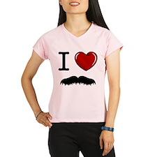 I Love Mustache Performance Dry T-Shirt