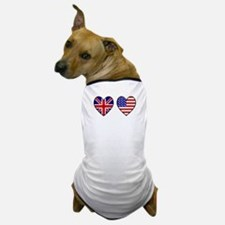 Union Jack / USA Heart Flags Dog T-Shirt