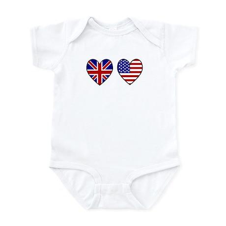 Union Jack / USA Heart Flags Infant Bodysuit