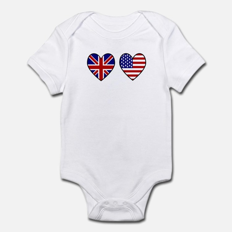 Union Jack / USA Heart Flags Infant Bodysuit