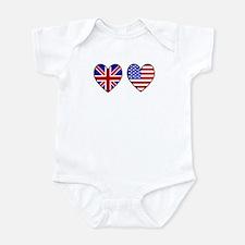 Union Jack / USA Heart Flags Onesie