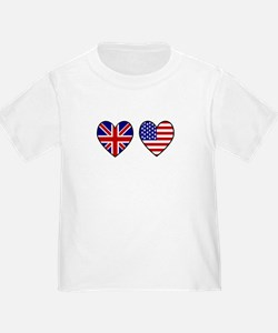 Union Jack / USA Heart Flags T
