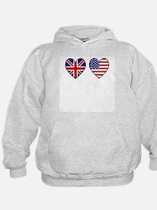 Union Jack / USA Heart Flags Hoodie