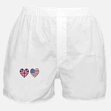 Union Jack / USA Heart Flags Boxer Shorts