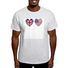 Union Jack / USA Heart Flags Ash Grey T-Shirt