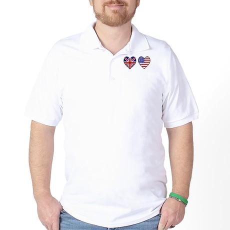 Union Jack / USA Heart Flags Golf Shirt