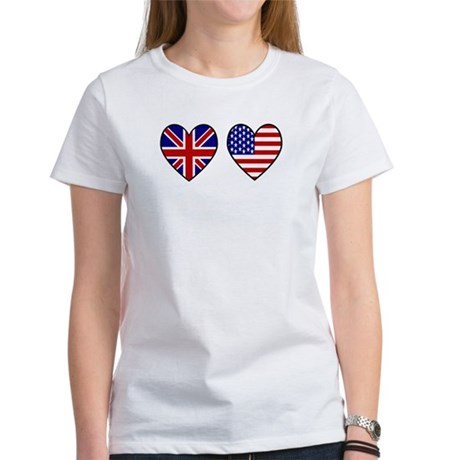 Union Jack / USA Heart Flags Women's T-Shirt