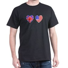 Union Jack / USA Heart Flags Black T-Shirt