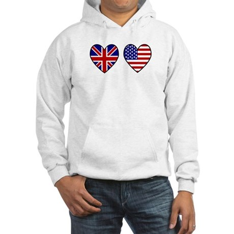 Union Jack / USA Heart Flags Hooded Sweatshirt