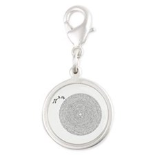 pi 3.14 art Silver Round Charm